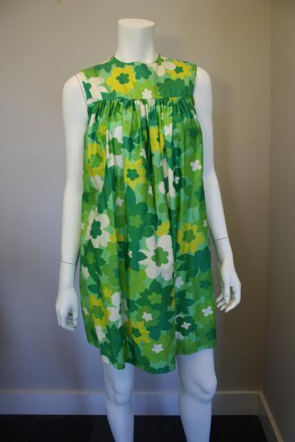 Vintage 60's Green & Yellow Floral Print Hawaiian Baby Doll Dress