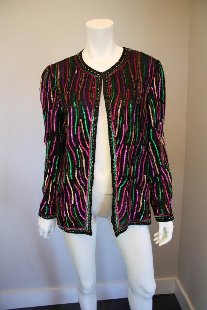 Vintage 80's Black Silk Jacket Covered in Pink & Green Zebra Stripe Sequins & Beads