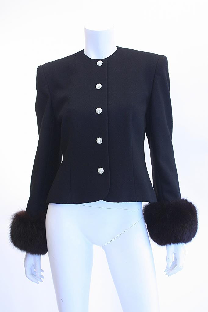 Vintage DAVID HAYES Black Jacket w/Fox Fur Cuffs