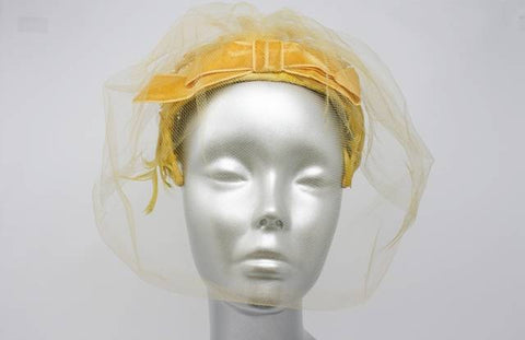 Vintage Yellow Hat with Feathers & Veil