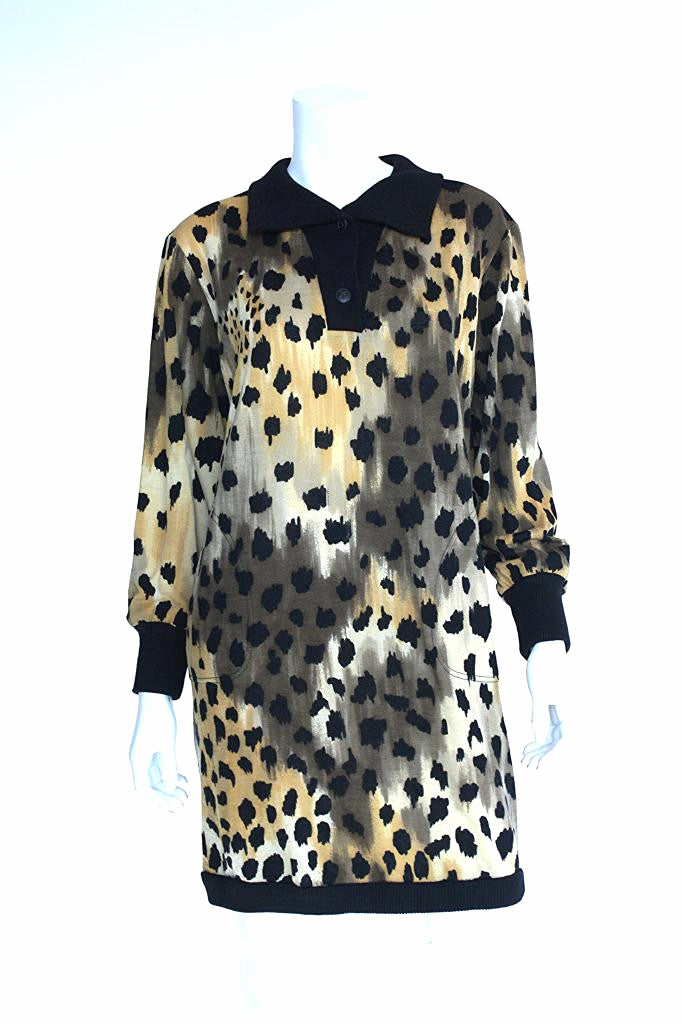 Vintage '80s LEONARD Leopard Print Sweater Dress