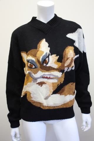 "Vintage 80's KRIZIA MAGLIA Black Wool Sweater with ""The Smoking Fox"""