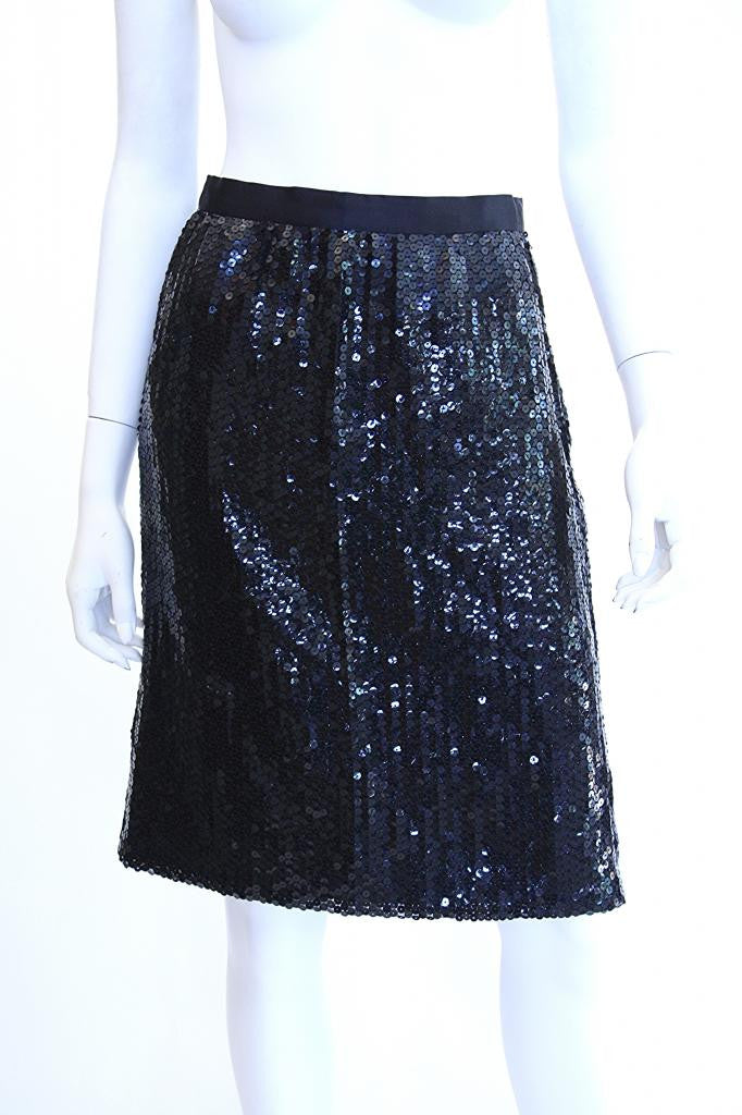 1970s ADOLFO Black Sequin and Satin Skirt