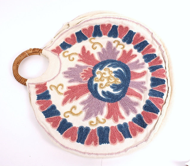 Vintage 70's Circle Embroidered Bag