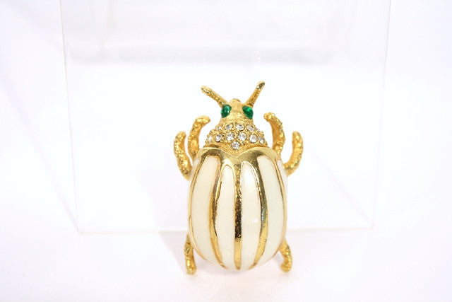 Vintage Kenneth Jay Lane Enamel Beetle Brooch