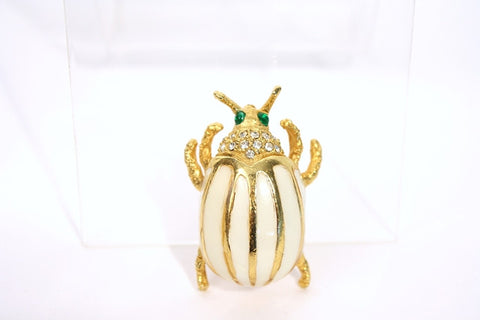 Vintage Kenneth Jay Lane Enamel & Rhinestone Beetle Brooch