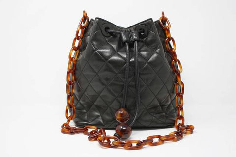 Rare Vintage CHANEL Black Bag with Tortoise Chain