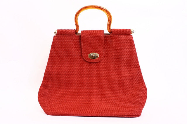 Vintage 60's Red Tote Bag Lucite Handle