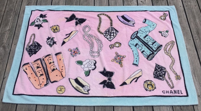 e18586e56c782 Rare 1994 Vintage CHANEL Runway Beach Towel at Rice and Beans Vintage
