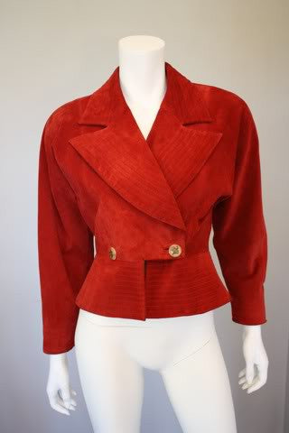 HERMES 80's Red Suede Jacket with Bone Signature Buttons