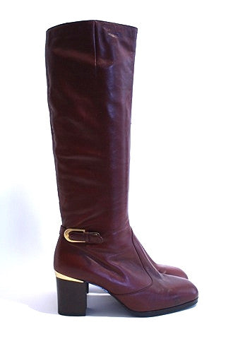1970s Leather Boots With Gold Accents