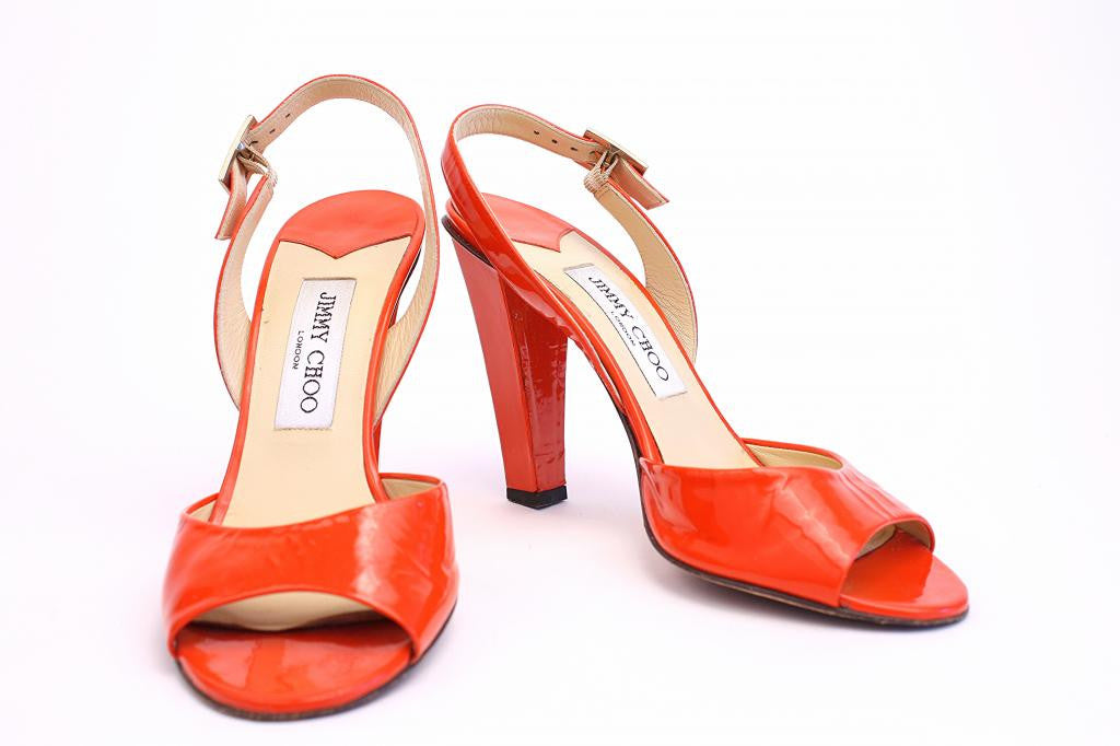 JIMMY CHOO Orange Patent Leather Heels
