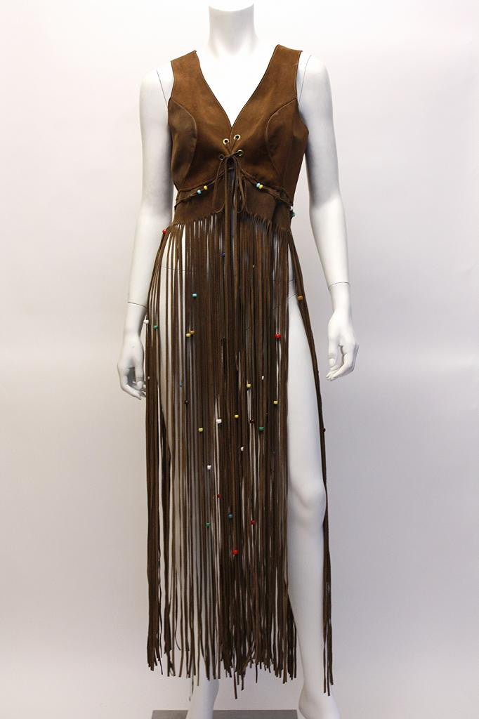 Vintage 70's Brown Suede Vest w/Beaded Fringe