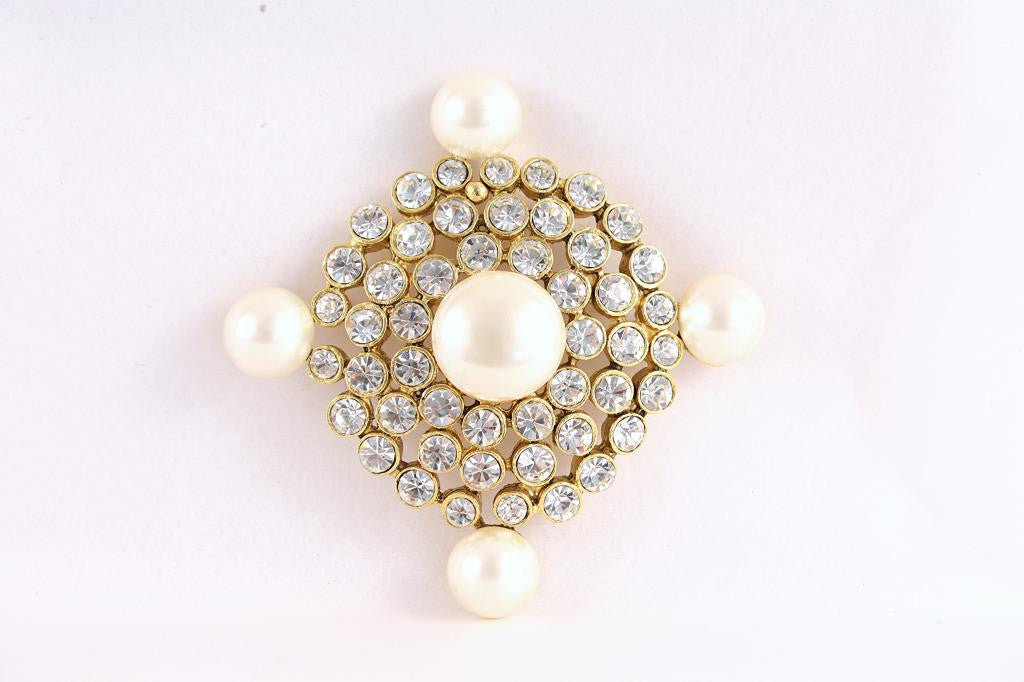 Vintage Pearl & Rhinestone Brooch Attributed to Chanel