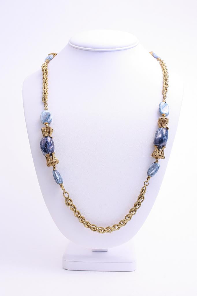Vintage MIRIAM HASKELL Blue & Gold Necklace