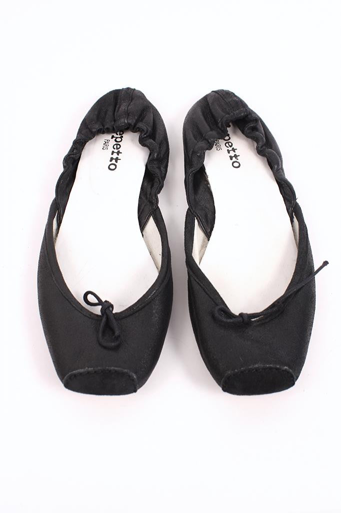 Repetto Black Leather Ballet Flats