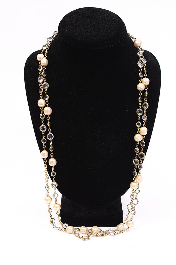 Vintage 80's Chanel Pearl & Crystal Sautoir Necklace