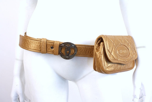 Vintage Chanel Gold Waist Belt Bag Fanny Pack