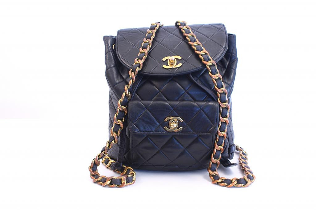 Vintage Chanel Black Quilted Backpack