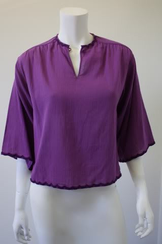 1970s CHANEL Purple Gauzy Cotton Peasant Blouse