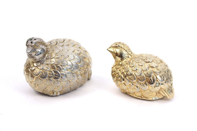 Vintage Gucci Gold Pewter Quail Salt & Pepper Shakers