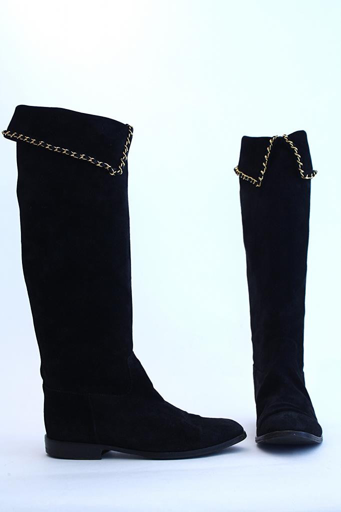 RARE Vintage CHANEL Suede & Chain Boots