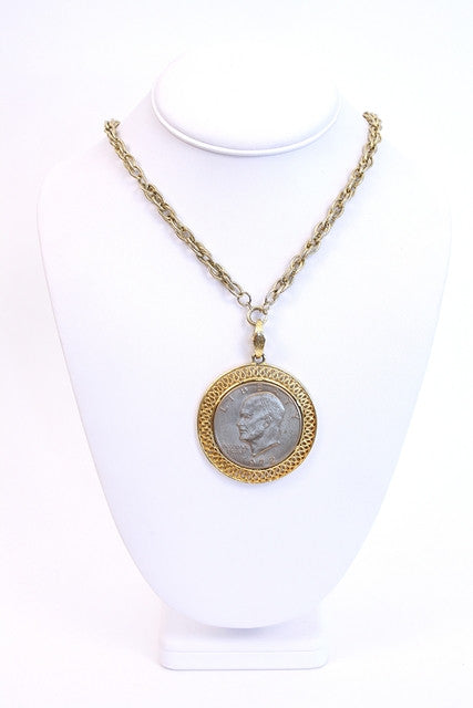 Vintage 70's Liberty Coin Necklace