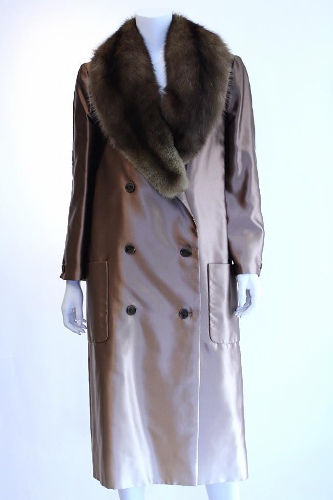 Vintage BILL BLASS Satin Coat w/Sable Fur Collar
