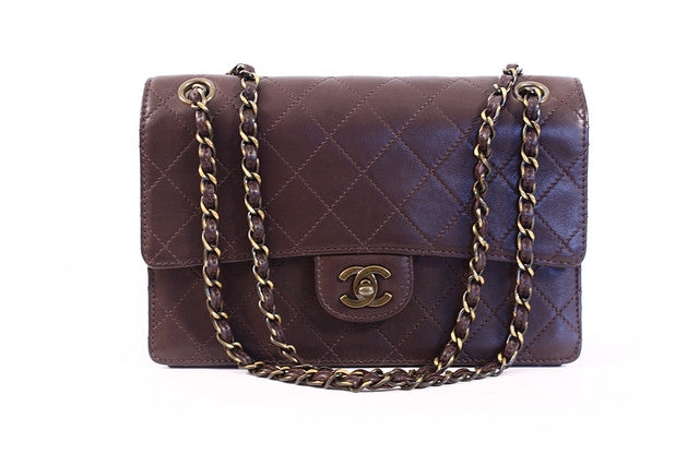 Rare Vintage Chanel Brown Single Flap Bag