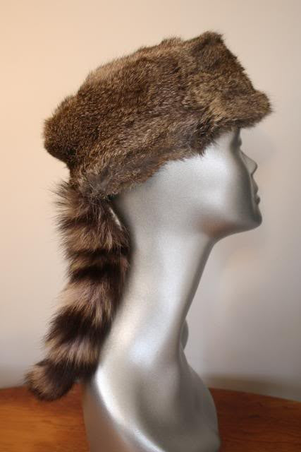 Vintage Daniel Boone Raccoon Fur & Rabbit Fur Hat with Tail