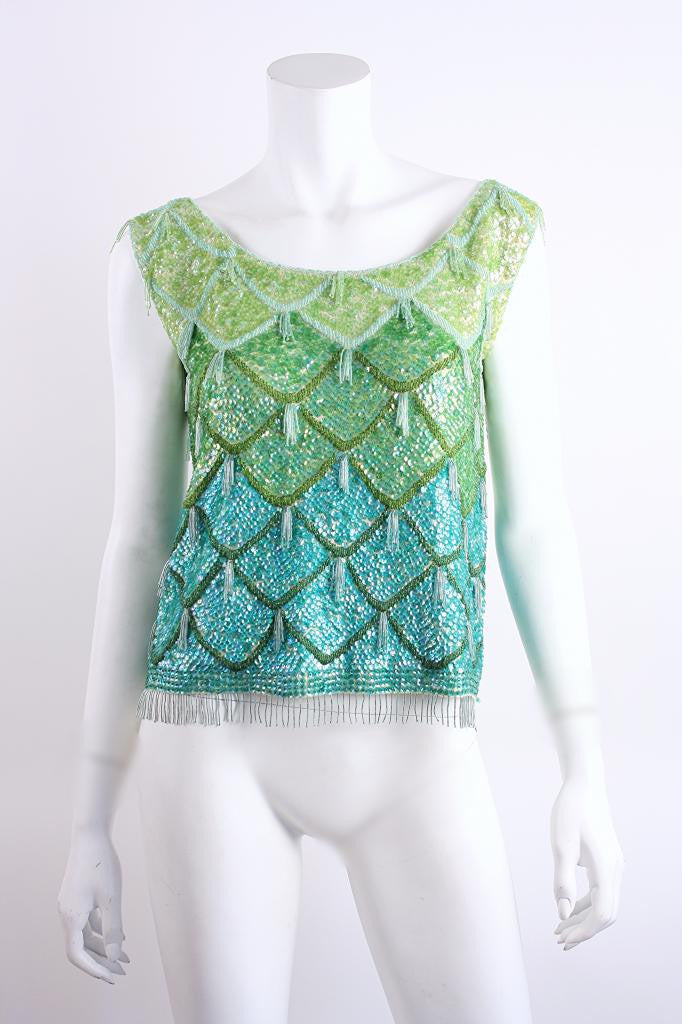 Vintage 60's Beaded Sequin Top