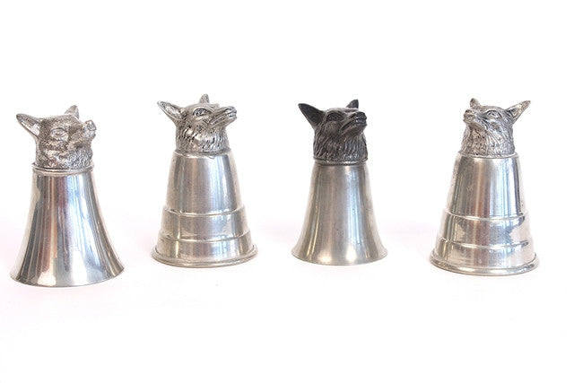 4 Vintage Pewter Fox Cups