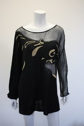 Rare Vintage KRIZIA MAGLIA Panther Print Knit Sweater