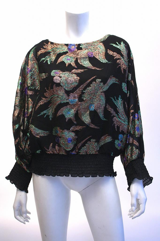 Vintage 80's Black & Metallic Lurex Blouse