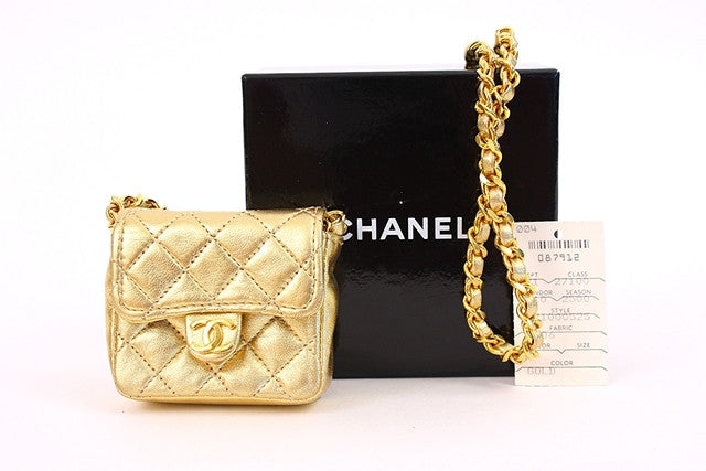 Rare Vintage CHANEL Gold Mini Flap Bag or Necklace