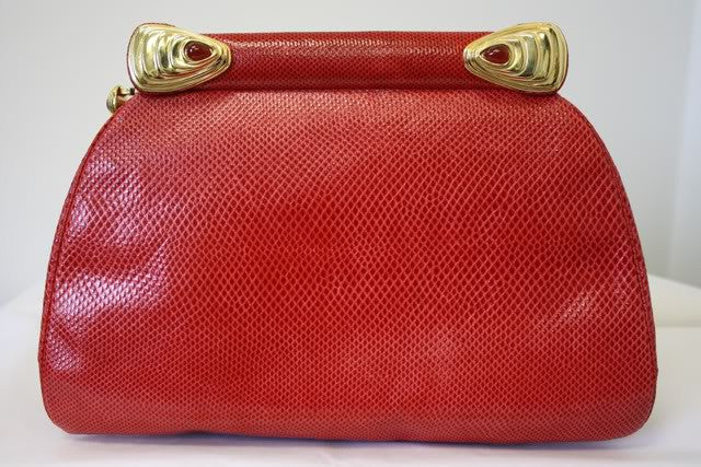 Vintage JUDITH LEIBER Red Lizard Convertible Clutch to Shoulder Bag with Gold & Genuine Carnelian Accents