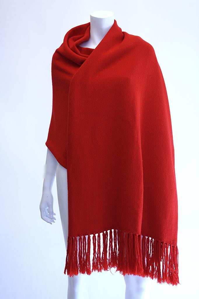 Huge Vintage Red HALSTON Cashmere Shawl