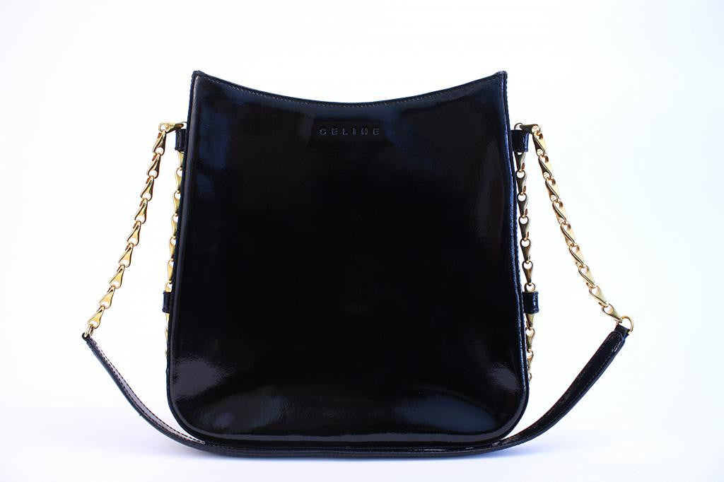 CELINE Black Patent Leather Handbag w/Gold Chain