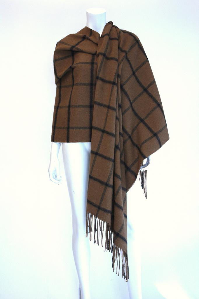 Vintage ANNE KLEIN Plaid Wool Shawl