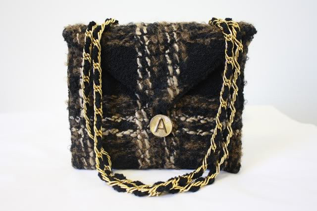 1970s ADOLFO Wool Boucle Plaid Flap Handbag