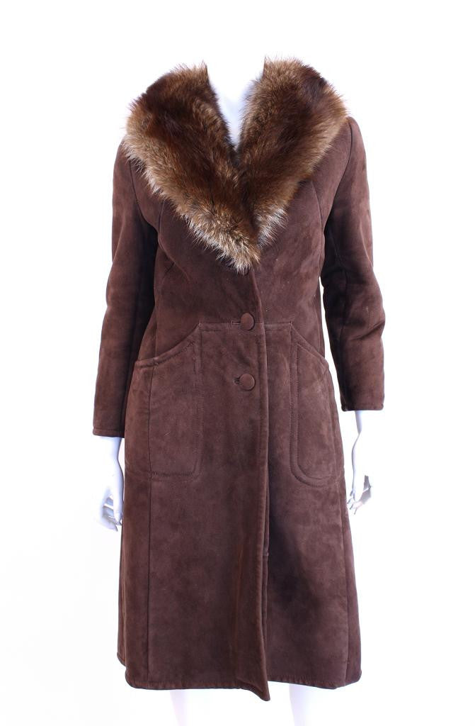 Vintage 70's Shearling Coat Fur Collar
