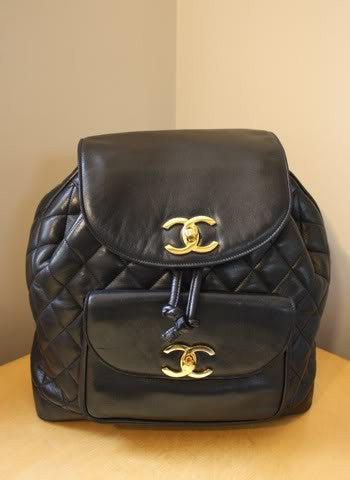 Vintage CHANEL Large Black Quilted Lambskin Backpack with Chain Detail & Double Gold CC Closures