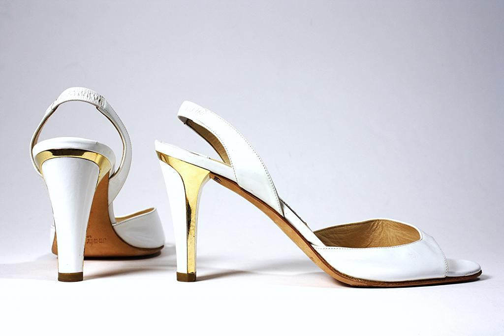 JIMMY CHOO White Patent Leather & Gold Heels