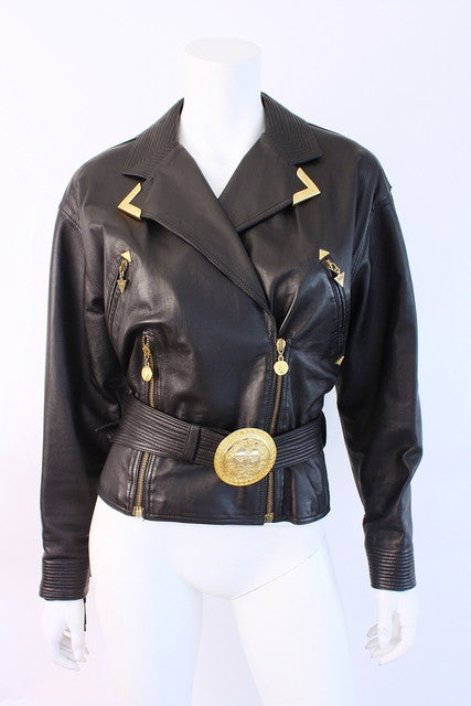 Vintage Gianni Versace Fringe Leather Jacket
