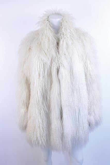 Vintage 70's White Mongolian Lamb Shaggy Fur Coat