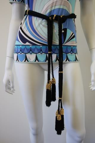 Vintage 70's Black Silk Cord Belt with Gold Chain Detail & Tassels