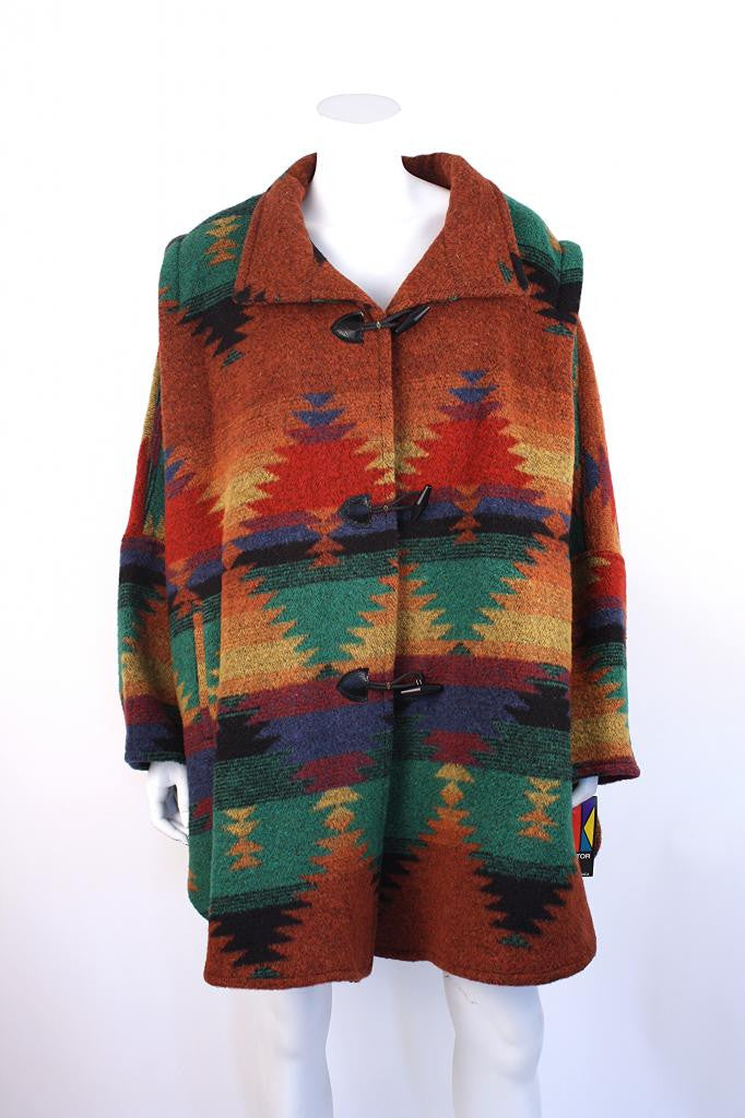 Vintage Southwestern Wool Toggle Blanket Coat