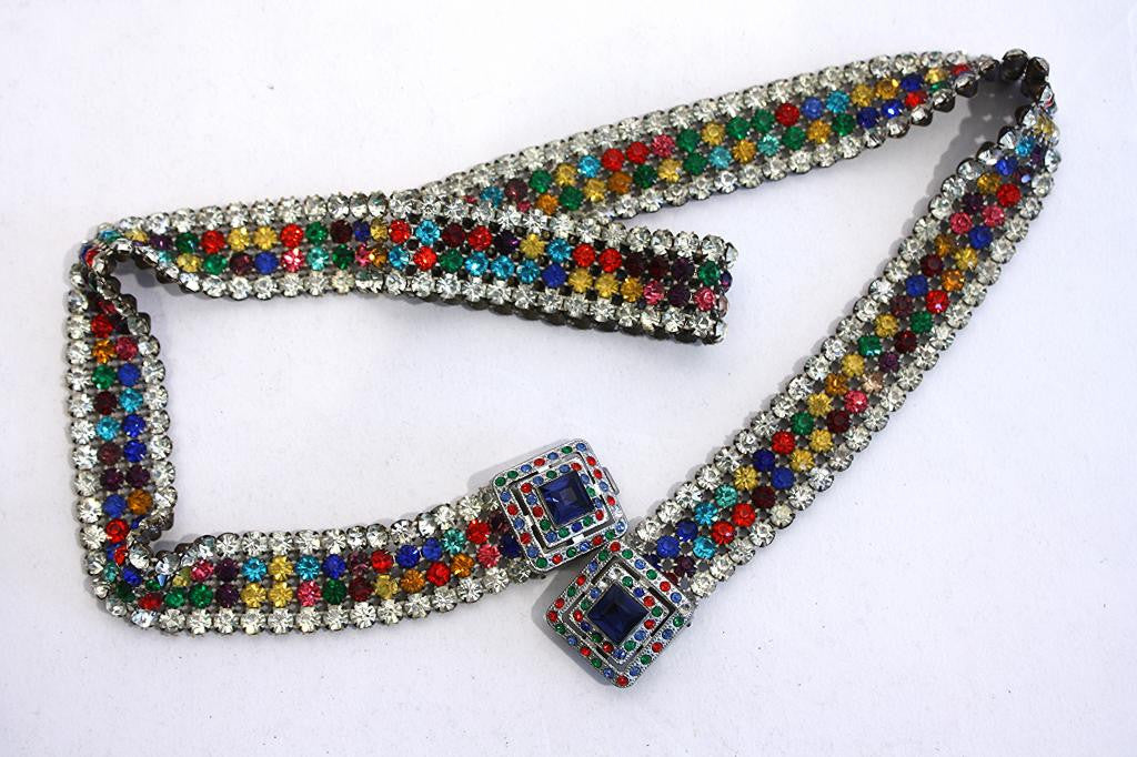 Vintage Multi Color Rhinestone Belt