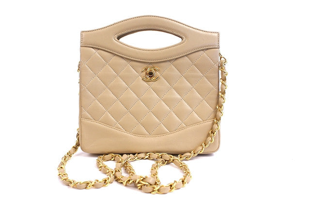 Vintage Chanel Beige Convertible Handbag Clutch
