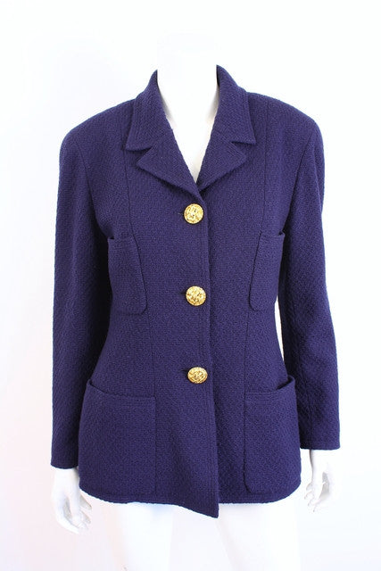 Vintage Chanel Navy Boucle Jacket